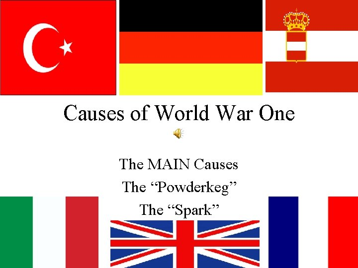 """Causes of World War One The MAIN Causes The """"Powderkeg"""" The """"Spark"""""""
