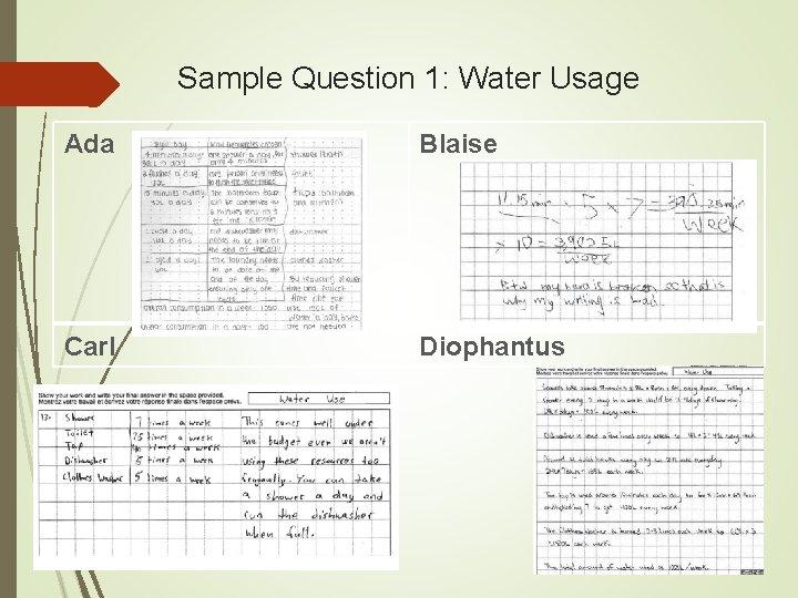 Sample Question 1: Water Usage Ada Blaise Carl Diophantus