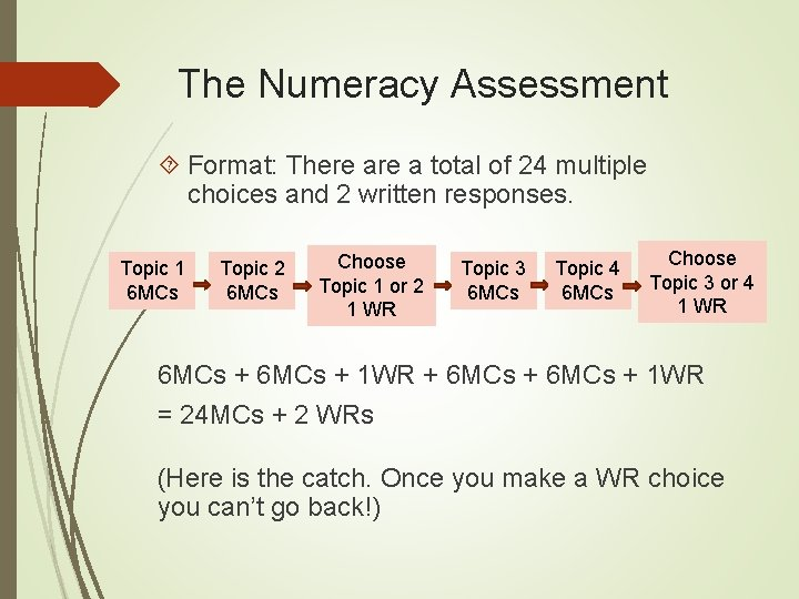The Numeracy Assessment Format: There a total of 24 multiple choices and 2 written