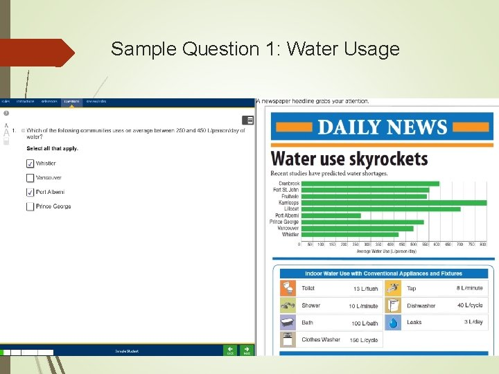 Sample Question 1: Water Usage