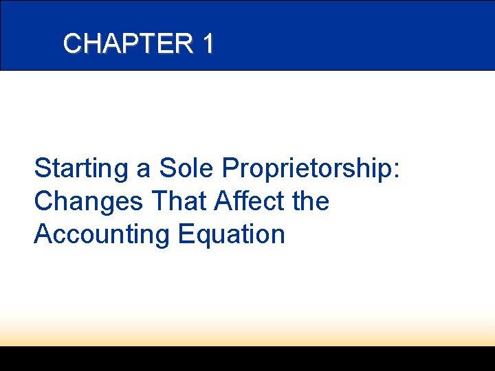 CHAPTER 1 Starting a Sole Proprietorship: Changes That Affect the Accounting Equation
