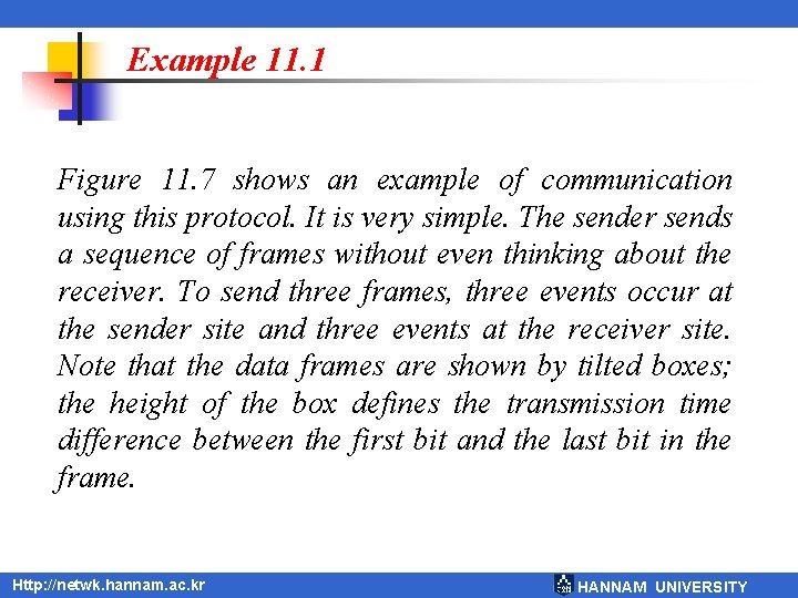 Example 11. 1 Figure 11. 7 shows an example of communication using this protocol.