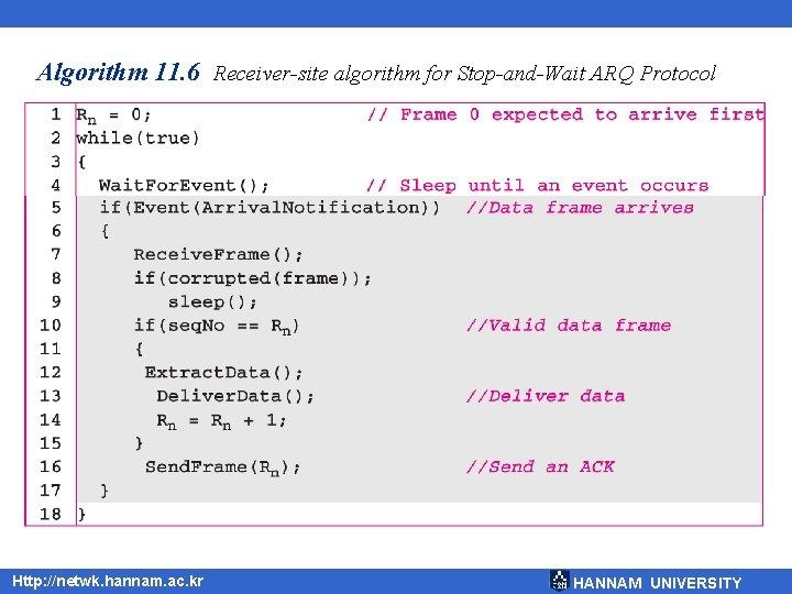 Algorithm 11. 6 Receiver-site algorithm for Stop-and-Wait ARQ Protocol Http: //netwk. hannam. ac. kr