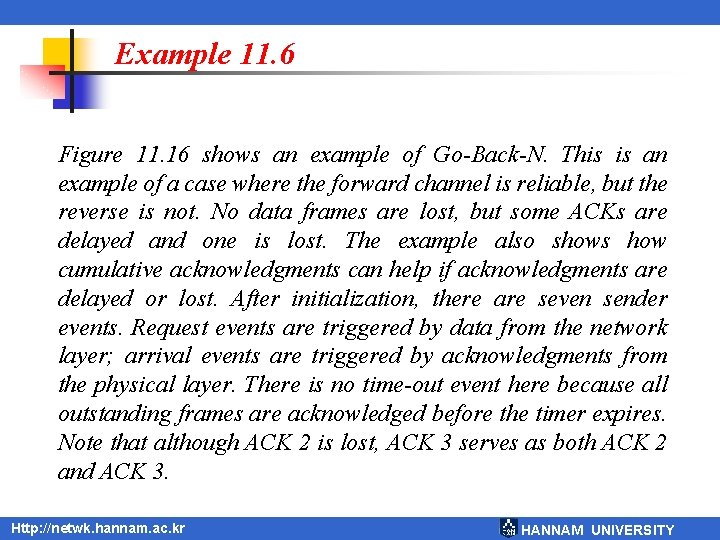 Example 11. 6 Figure 11. 16 shows an example of Go-Back-N. This is an