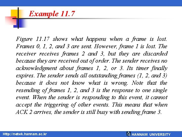 Example 11. 7 Figure 11. 17 shows what happens when a frame is lost.