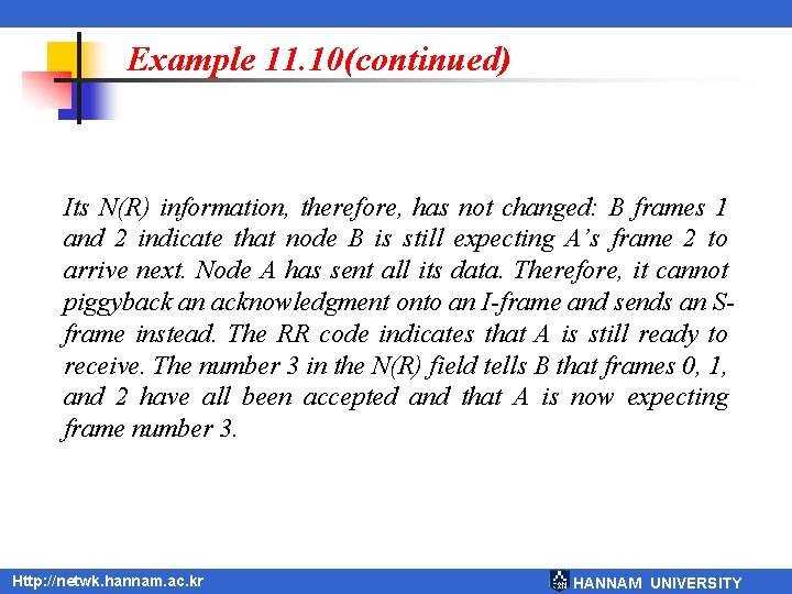 Example 11. 10(continued) Its N(R) information, therefore, has not changed: B frames 1 and
