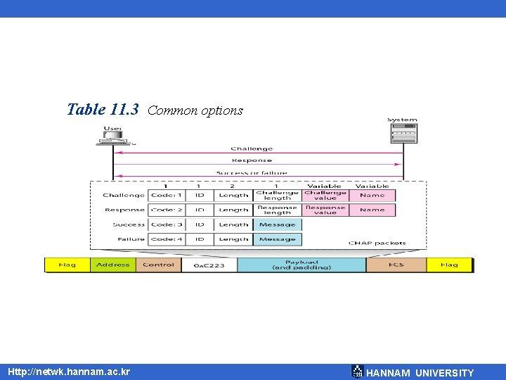 Table 11. 3 Common options Http: //netwk. hannam. ac. kr HANNAM UNIVERSITY