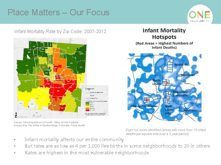 Place Matters – Our Focus Infant Mortality Rate by Zip Code: 2007 -2012 Source: