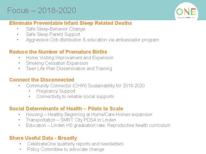 Focus – 2018 -2020 Eliminate Preventable Infant Sleep Related Deaths • • • Safe