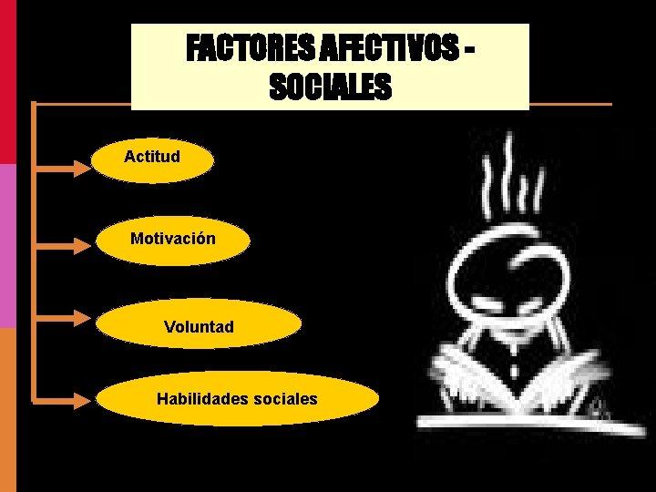 FACTORES AFECTIVOS SOCIALES Actitud Motivación Voluntad Habilidades sociales