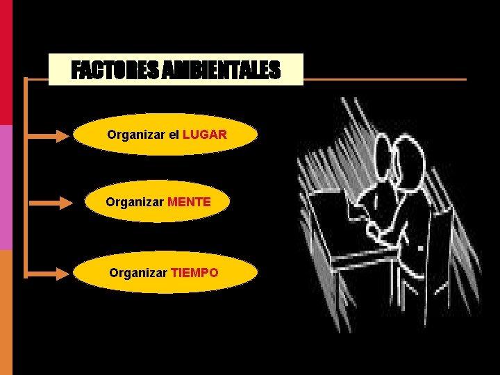 FACTORES AMBIENTALES Organizar el LUGAR Organizar MENTE Organizar TIEMPO