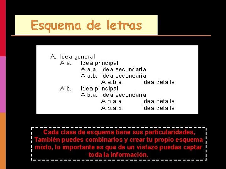 Esquema de letras Cada clase de esquema tiene sus particularidades, También puedes combinarlos y