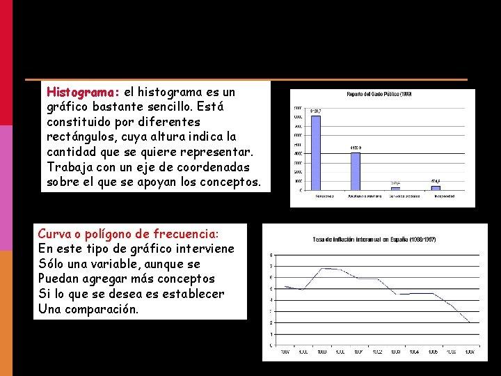 Histograma: el histograma es un gráfico bastante sencillo. Está constituido por diferentes rectángulos, cuya