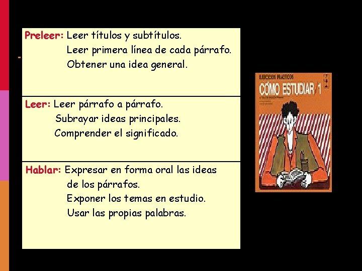 Preleer: Leer títulos y subtítulos. Leer primera línea de cada párrafo. Obtener una idea