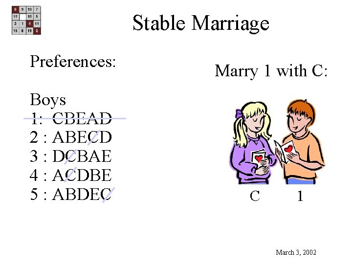 Stable Marriage Preferences: Boys 1: CBEAD 2 : ABECD 3 : DCBAE 4 :