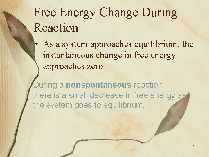 Free Energy Change During Reaction • As a system approaches equilibrium, the instantaneous change
