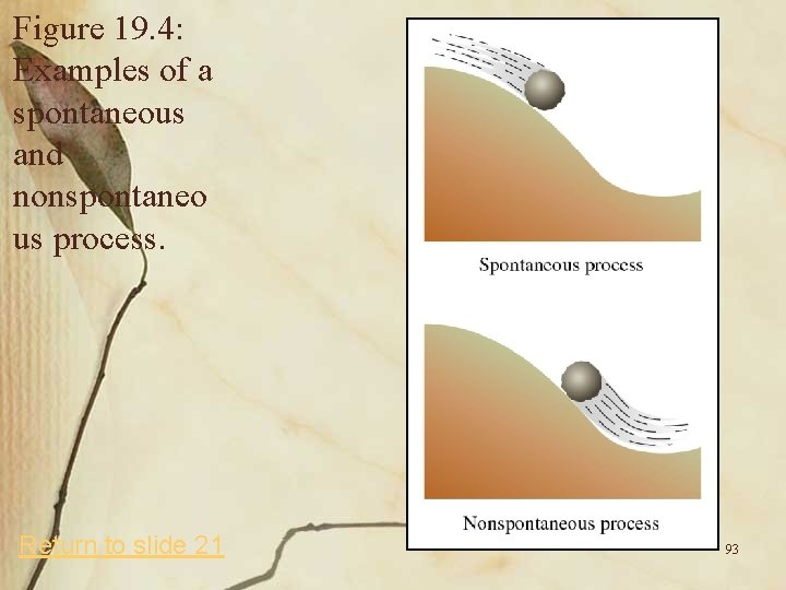Figure 19. 4: Examples of a spontaneous and nonspontaneo us process. Return to slide