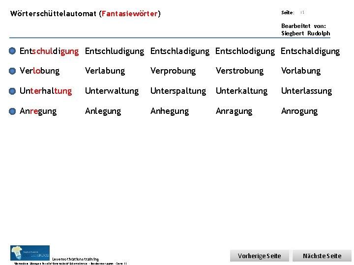 Übungsart: Wörterschüttelautomat (Fantasiewörter) Seite: 15 Bearbeitet von: Siegbert Rudolph Entschuldigung Entschludigung Entschladigung Entschlodigung Entschaldigung