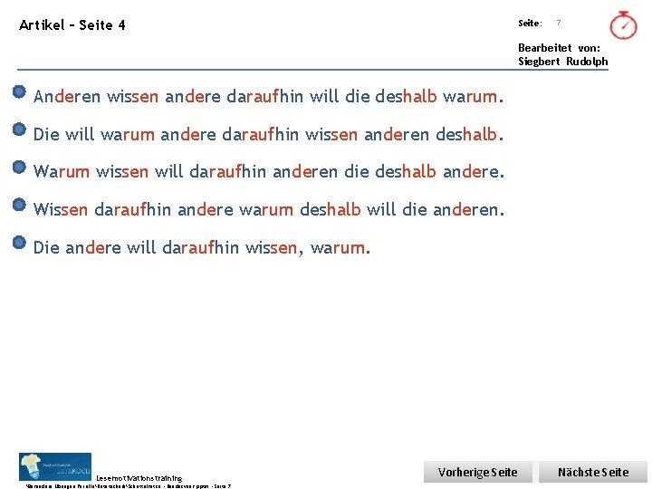 Übungsart: Artikel – Seite 4 Seite: 7 Bearbeitet von: Siegbert Rudolph Anderen wissen andere