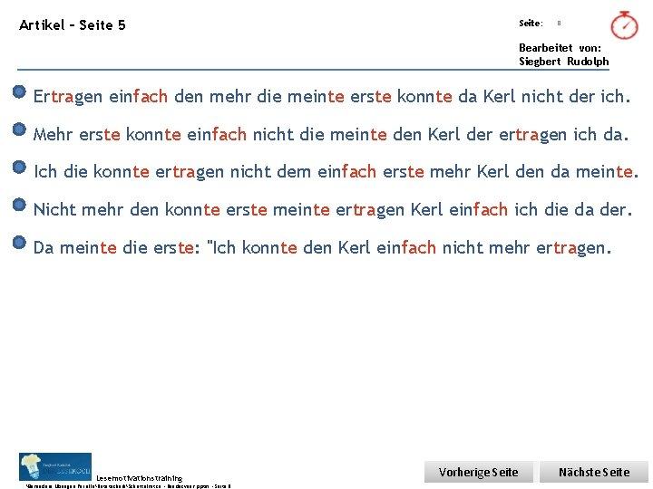 Übungsart: Artikel – Seite 5 Seite: 8 Bearbeitet von: Siegbert Rudolph Ertragen einfach den