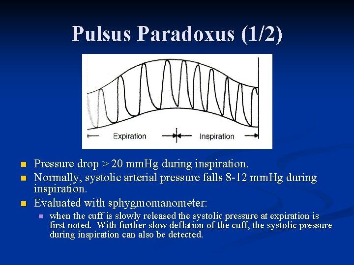 Pulsus Paradoxus (1/2) n n n Pressure drop > 20 mm. Hg during inspiration.