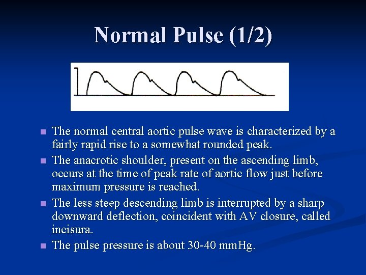 Normal Pulse (1/2) n n The normal central aortic pulse wave is characterized by