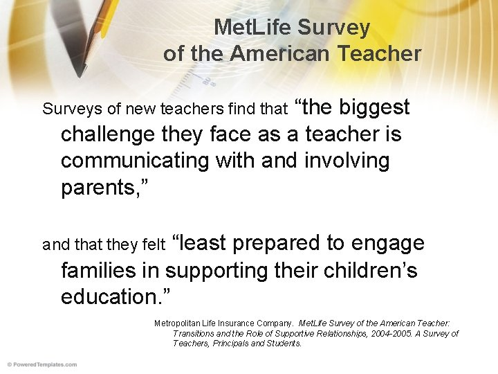 """Met. Life Survey of the American Teacher """"the biggest challenge they face as a"""