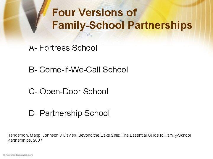 Four Versions of Family-School Partnerships A- Fortress School B- Come-if-We-Call School C- Open-Door School