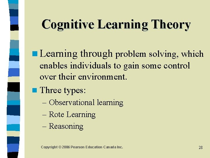 Cognitive Learning Theory n Learning through problem solving, which enables individuals to gain some