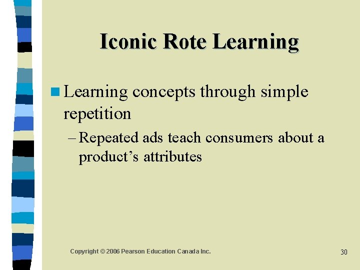 Iconic Rote Learning n Learning concepts through simple repetition – Repeated ads teach consumers