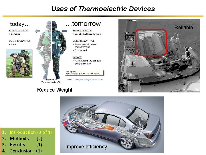 Uses of Thermoelectric Devices Reliable Reduce Weight 1. 2. 3. 4. Introduction (3 of
