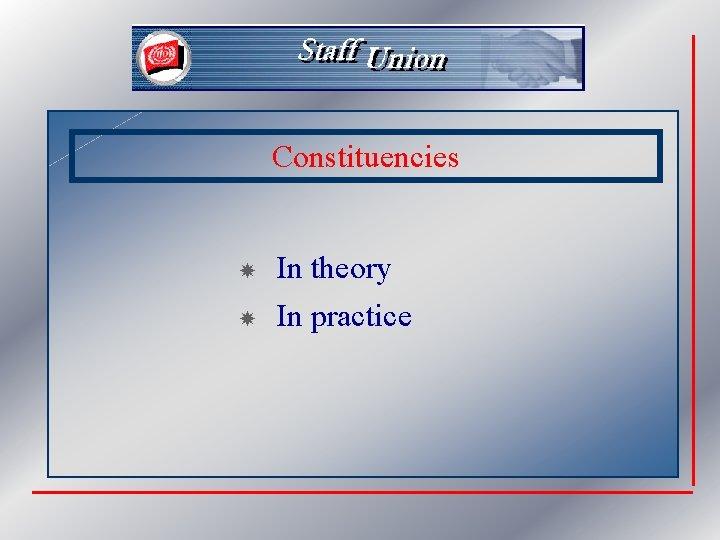 Constituencies In theory In practice