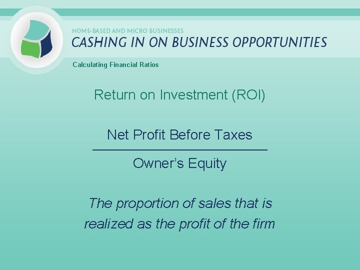 Calculating Financial Ratios Return on Investment (ROI) Net Profit Before Taxes _____________________________ Owner's Equity