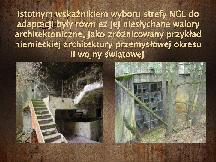 Istotnym wskaźnikiem wyboru strefy NGL do adaptacji były również jej niesłychane walory architektoniczne, jako