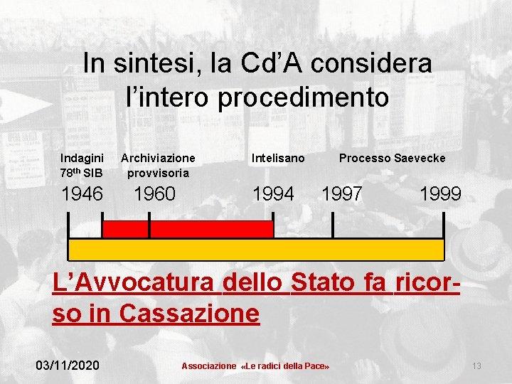 In sintesi, la Cd'A considera l'intero procedimento Indagini 78 th SIB 1946 Archiviazione provvisoria