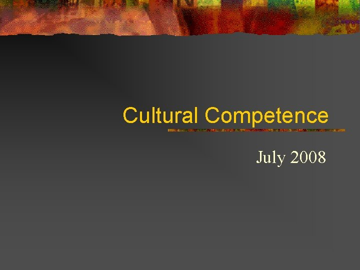 Cultural Competence July 2008
