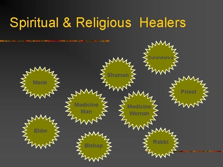 Spiritual & Religious Healers Curandero/a Shaman Monk Priest Medicine Man Medicine Woman Elder Bishop