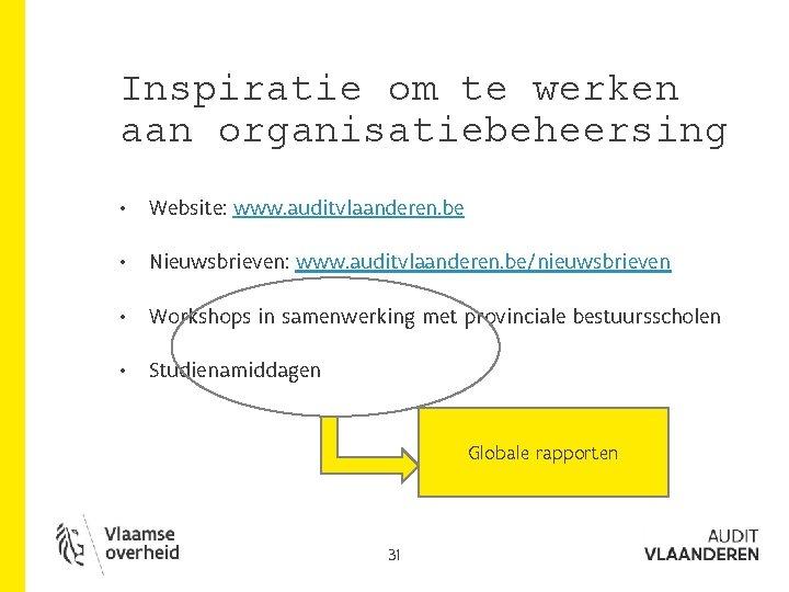 Inspiratie om te werken aan organisatiebeheersing • Website: www. auditvlaanderen. be • Nieuwsbrieven: www.