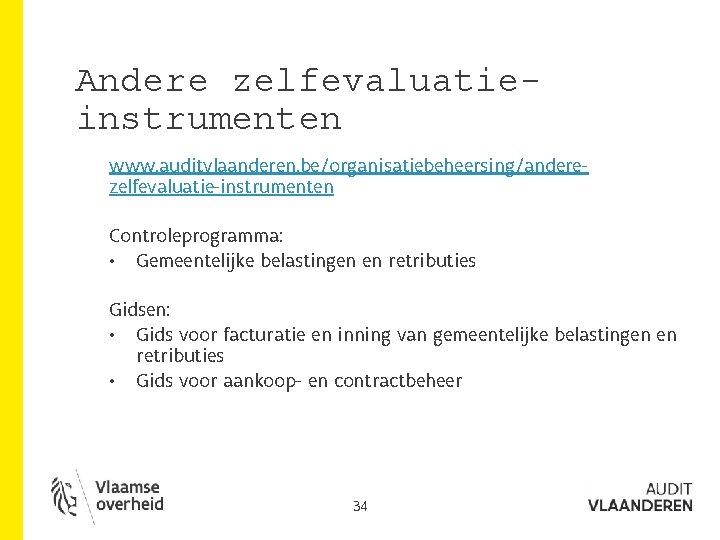 Andere zelfevaluatieinstrumenten www. auditvlaanderen. be/organisatiebeheersing/anderezelfevaluatie-instrumenten Controleprogramma: • Gemeentelijke belastingen en retributies Gidsen: • Gids