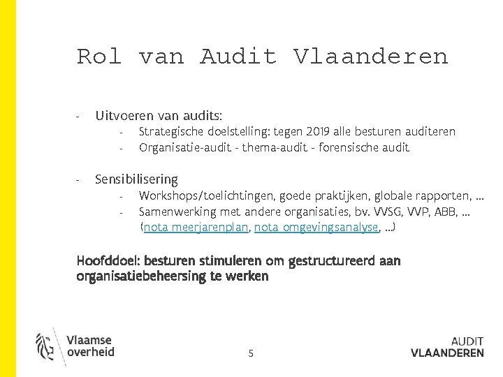 Rol van Audit Vlaanderen - Uitvoeren van audits: - - Strategische doelstelling: tegen 2019