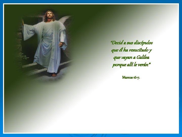 """""""Decid a sus discípulos que él ha resucitado y que vayan a Galilea porque"""