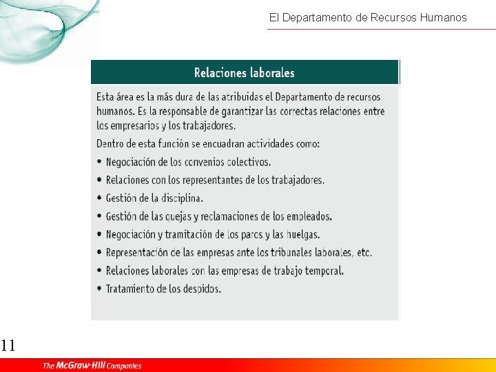 11 El Departamento de Recursos Humanos