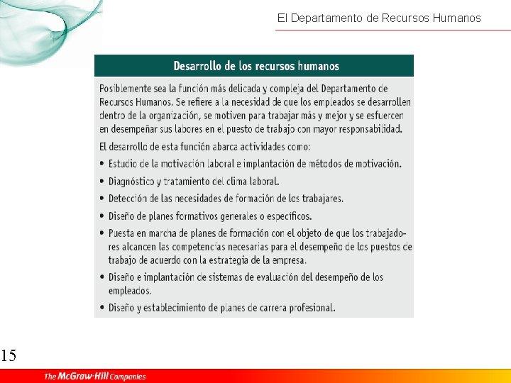 15 El Departamento de Recursos Humanos