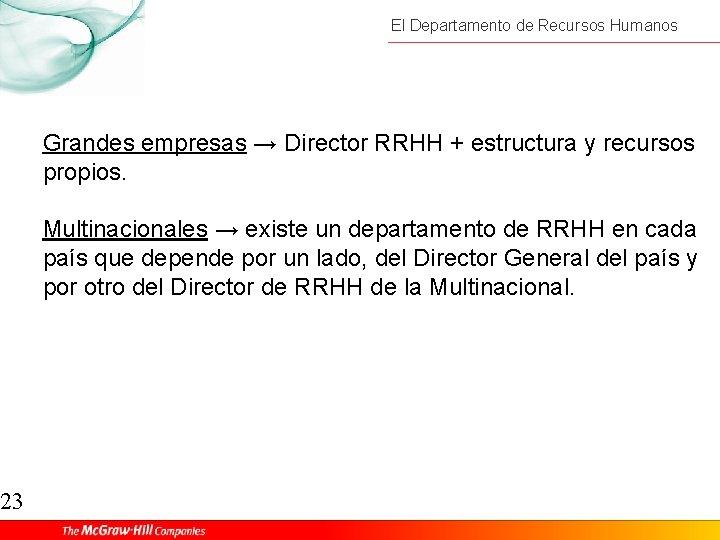 23 El Departamento de Recursos Humanos Grandes empresas → Director RRHH + estructura y