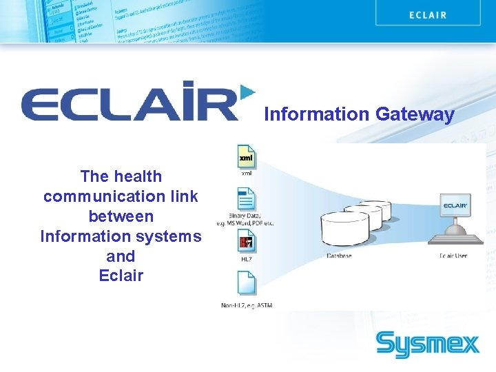 Information Gateway The health communication link between Information systems and Eclair