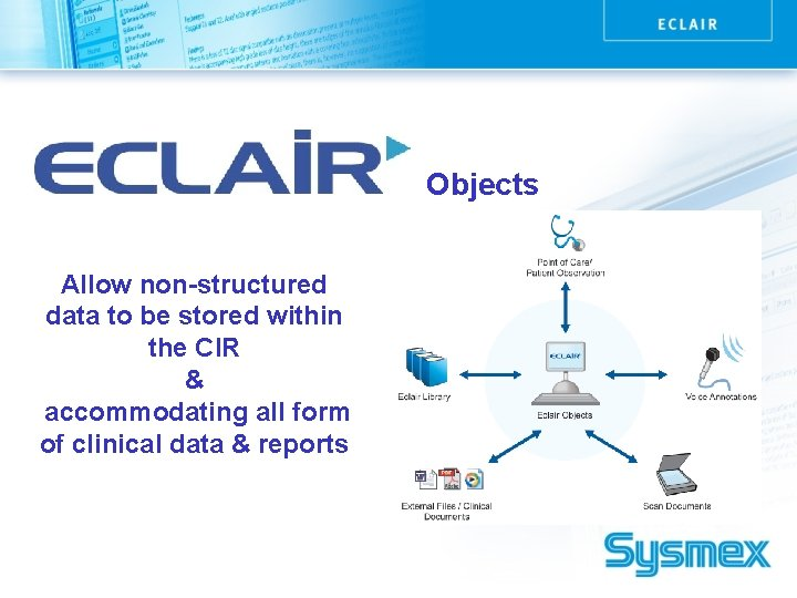 Objects Allow non-structured data to be stored within the CIR & accommodating all form
