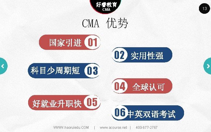 Company name 好睿教育 Company slogan here 13 CMA 优势 国家引进 科目少周期短 好就业升职快 01 02