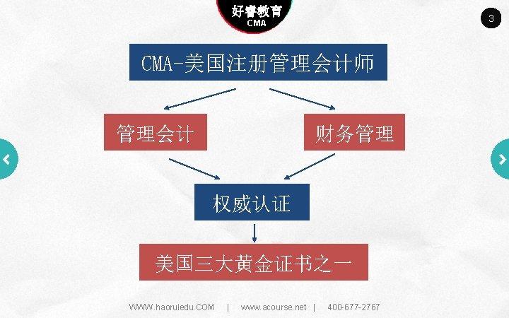 Company name 好睿教育 Company slogan here 3 CMA-美国注册管理会计师 管理会计 财务管理 权威认证 美国三大黄金证书之一 WWW. haoruiedu.