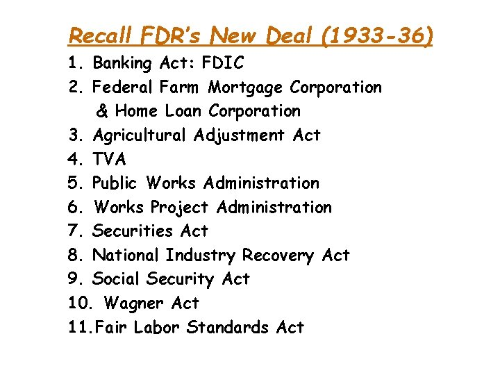 Recall FDR's New Deal (1933 -36) 1. Banking Act: FDIC 2. Federal Farm Mortgage