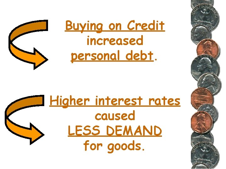 Buying on Credit increased personal debt. Higher interest rates caused LESS DEMAND for goods.